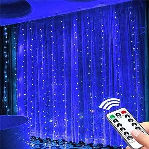 Blue Fairy Lights Greenke Blue Lights for Bedroom 300 Lights Indoor Christmas Lights 8 Modes USB Room Decor Remote Curtains Lights Timer Fairy String Lights Wall LED Lights - Blue