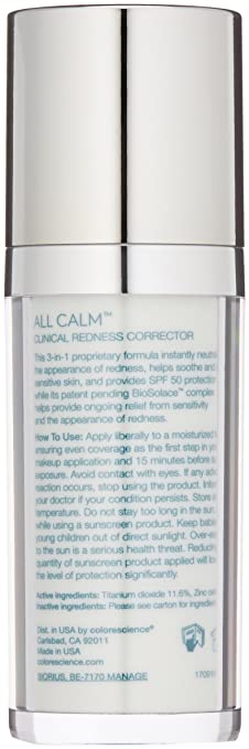 Colorescience All Calm Clinical Redness Corrector, Broad Spectrum SPF 50, 1 Fl Oz