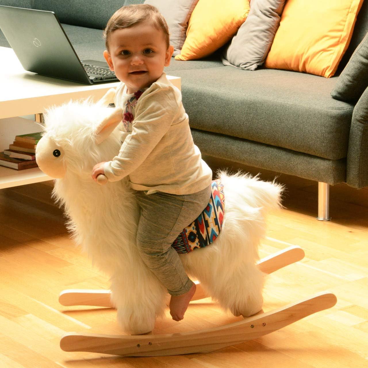 YYSDH Caballo Mecedora del bebé, Juguete del bebé Caballito de Madera Lama Alpaca Abnehmbaren para niños y bebés de 1 año y de Madera 55 Cm Juguetes