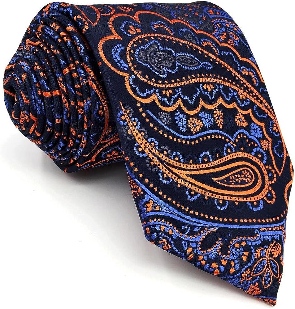 shlax&wing único Hombre Seda Corbatas Para Azul Naranja Cachemir ...