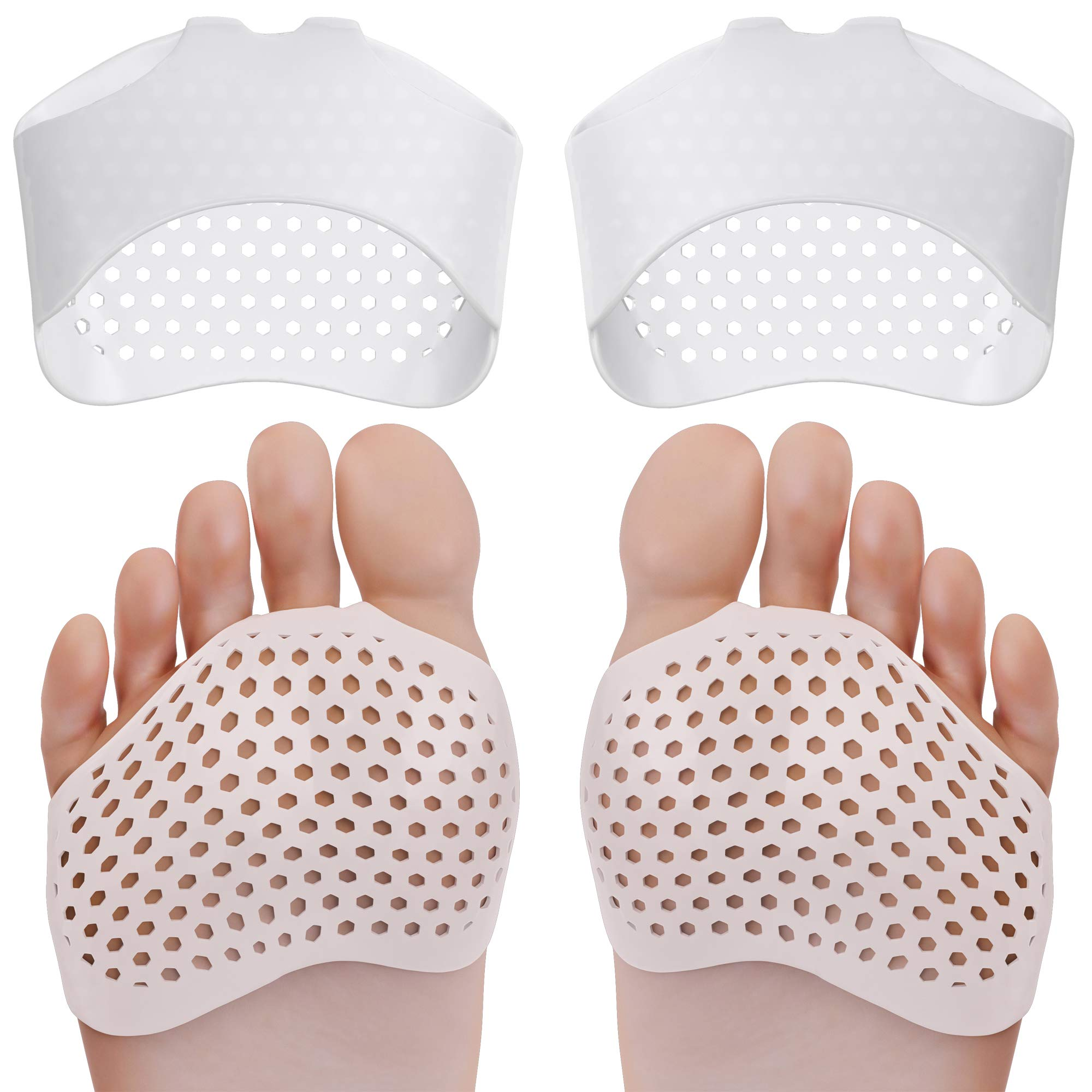 Ballotte Breathable Metatarsal Pads (2Pairs) - Ball of Foot Pain Relief Cushions for Men and Women