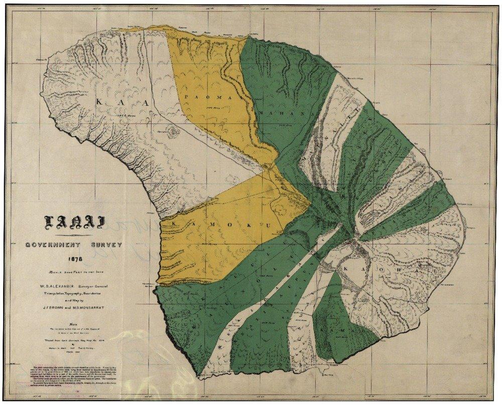 Lanai、ハワイパノラママップ – 1900 16 x 24 Giclee Print LANT-4407-16x24 16 x 24 Giclee Print  B00QPYN6UQ