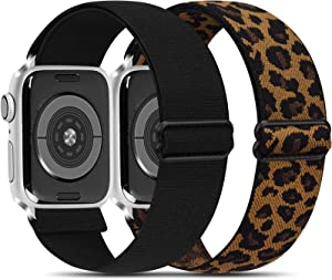 Oumida 2 PACK Stretchy Bands Compatible with Apple Watch 44mm 42mm 40mm 38mm for iWatch Series SE 6 5 4 3 2 1, Adjustable Soft Elastics iWatch Accessories Straps for Women Men