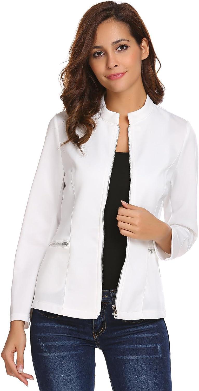 Concep Women Collarless Zipper Blazer Office Jacket Long Sleeve Slim Fit Cardigan