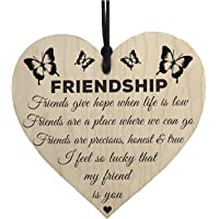 SODIAL I'm Lucky My Friend Is You Wooden Hanging Heart Friendship Gift Best Friends