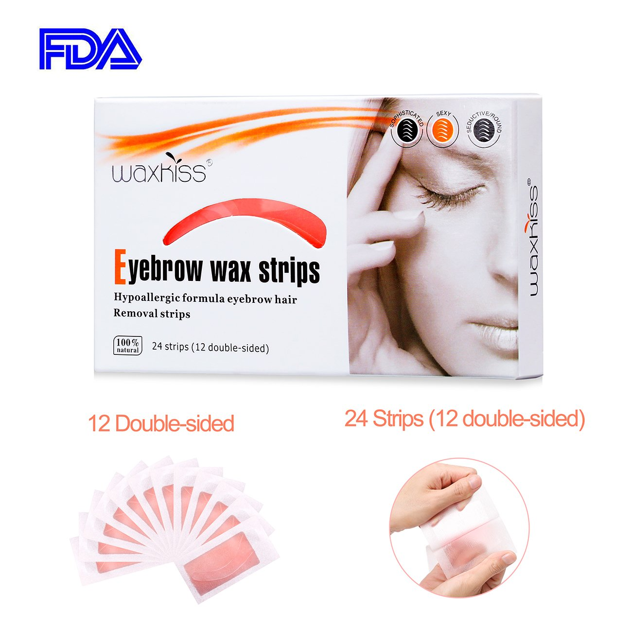 Waxkiss Eyebrows Waxing Strips Cold Wax Strip with FDA for Eyebrow Hair Removal Bikini Hair Removal Home and Traveling Wax Strips Ready to Use 24 Strips (12 double - side)