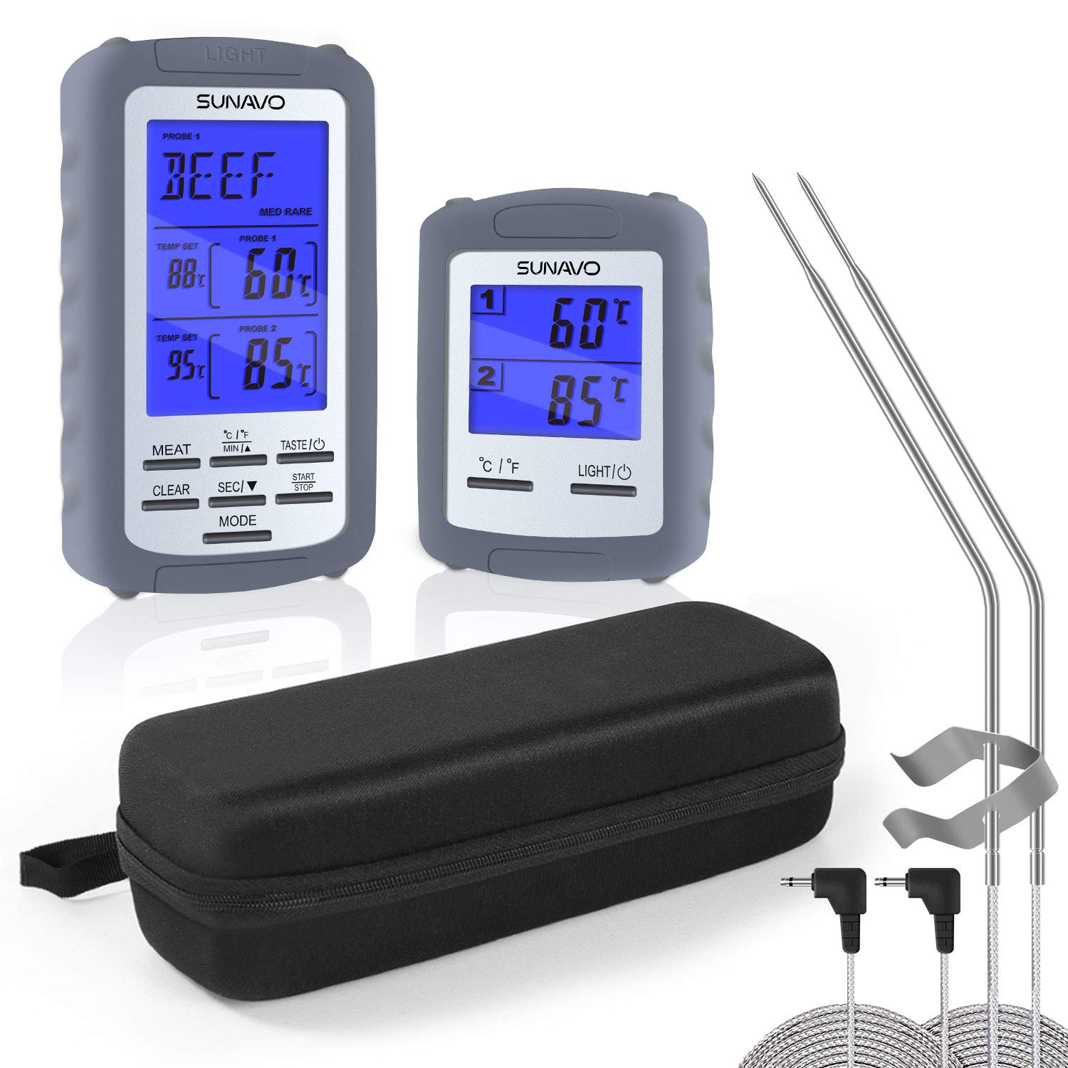 SUNAVO MT-01 Meat Thermometer for Grilling Wireless Barbecue Thermometer Digital with Large LCD and Timer Alarm for Grilling Oven Kitchen Smoker BBQ Grill with Dual Temperature Probe