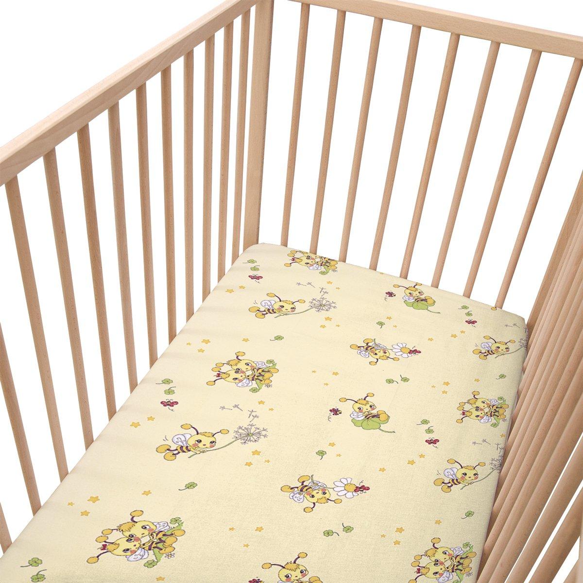 Les petites abeilles/Lot de 2 draps housse Pati'Chou pour lit bébé 60x120 cm SoulBedroom