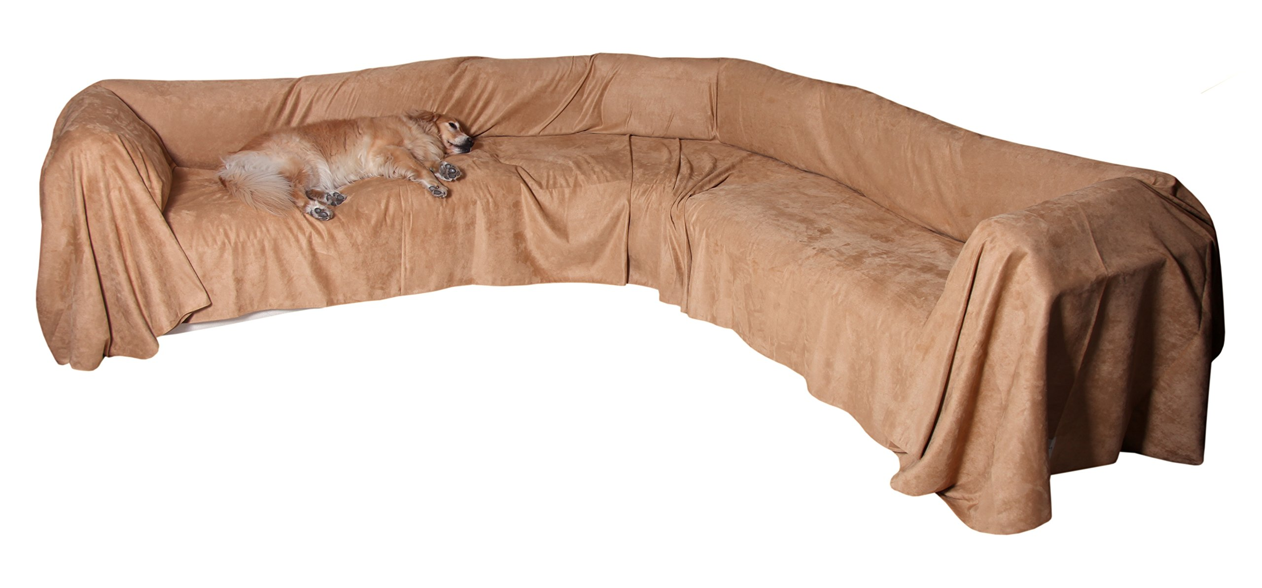 """Floppy Ears Design Simple Faux Suede Microfiber Sectional Couch Cover Protector, Tan, Large, 70"""" W x 250"""" L"""
