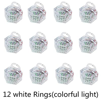 12pcs Flashing Led Light Up Ring Toys Diamond Grow in The Dark Jelly Bumpy Rings: Toys & Games