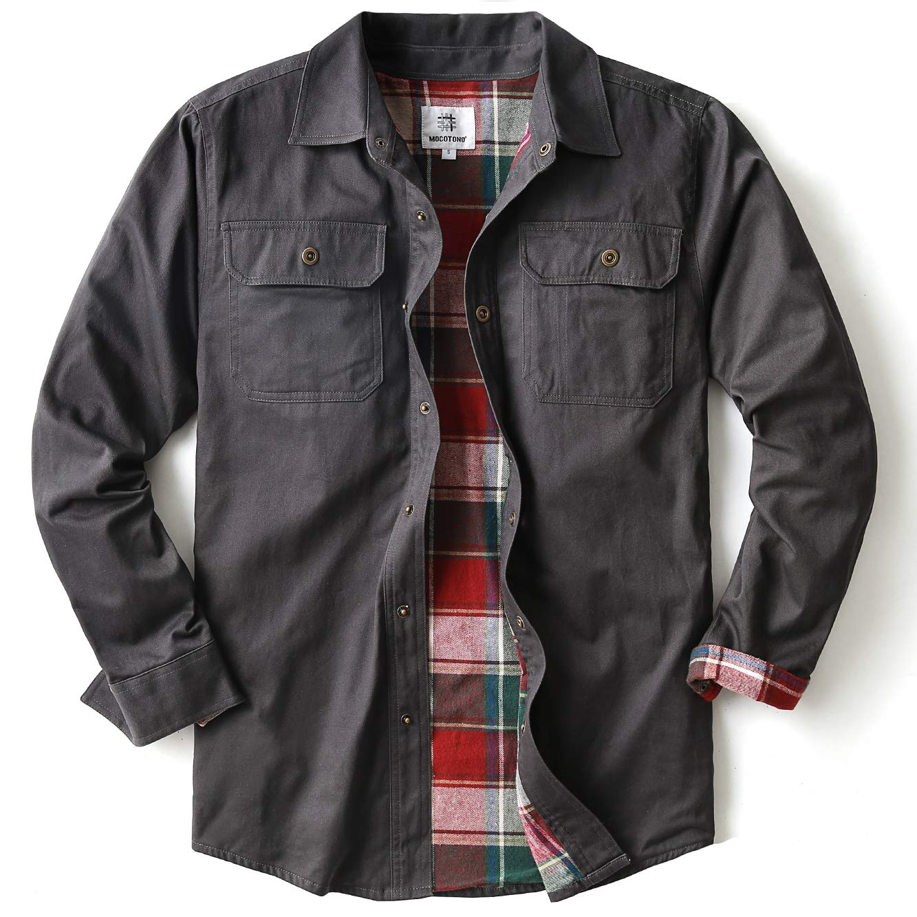 Mens Heavyweight Canvas Flannel Lined Shirt Jacket