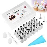 Zoegate Stainless Steel Cream Icing Piping Nozzles Set Kit 38in1 Cake Decorating Baking Tool Pastry Tips with 1 Reusable Piping Cream Pastry Bag,2 Coupler,2 Flower Nails and Storage Case for Cakes Cupcakes Cookies Pastry