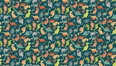 Fat Quarter Dinosaur Dance on Cream Cotton Quilting Sewing Fabric