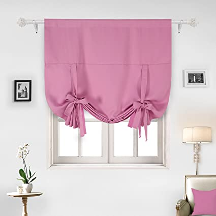 Deconovo Solid Color Rod Pocket Blackout Curtain Panels Window Curtain in Pink for Nursery 46W x 63L One Panel