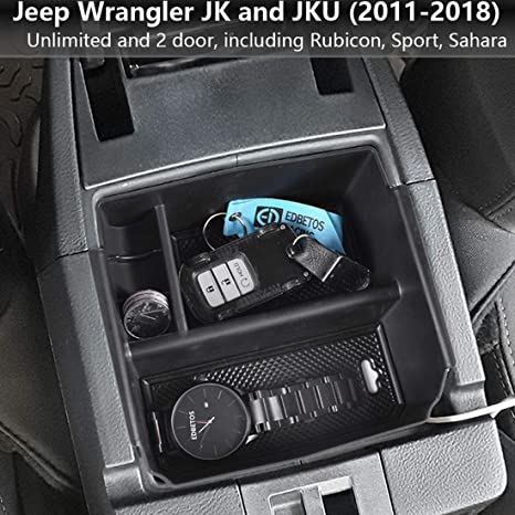 Black RT-TCZ JK Center Console Insert Organizer Storage Tray for 2011-2018 Jeep Wrangler JK JKU Pilot Box Secondary Storage