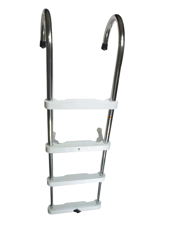 Pactrade Marine Pontoon Boat Gunwale Hook Removable 4pp Step Telescoping Ladder S.S. 304 Capacity 400lbs