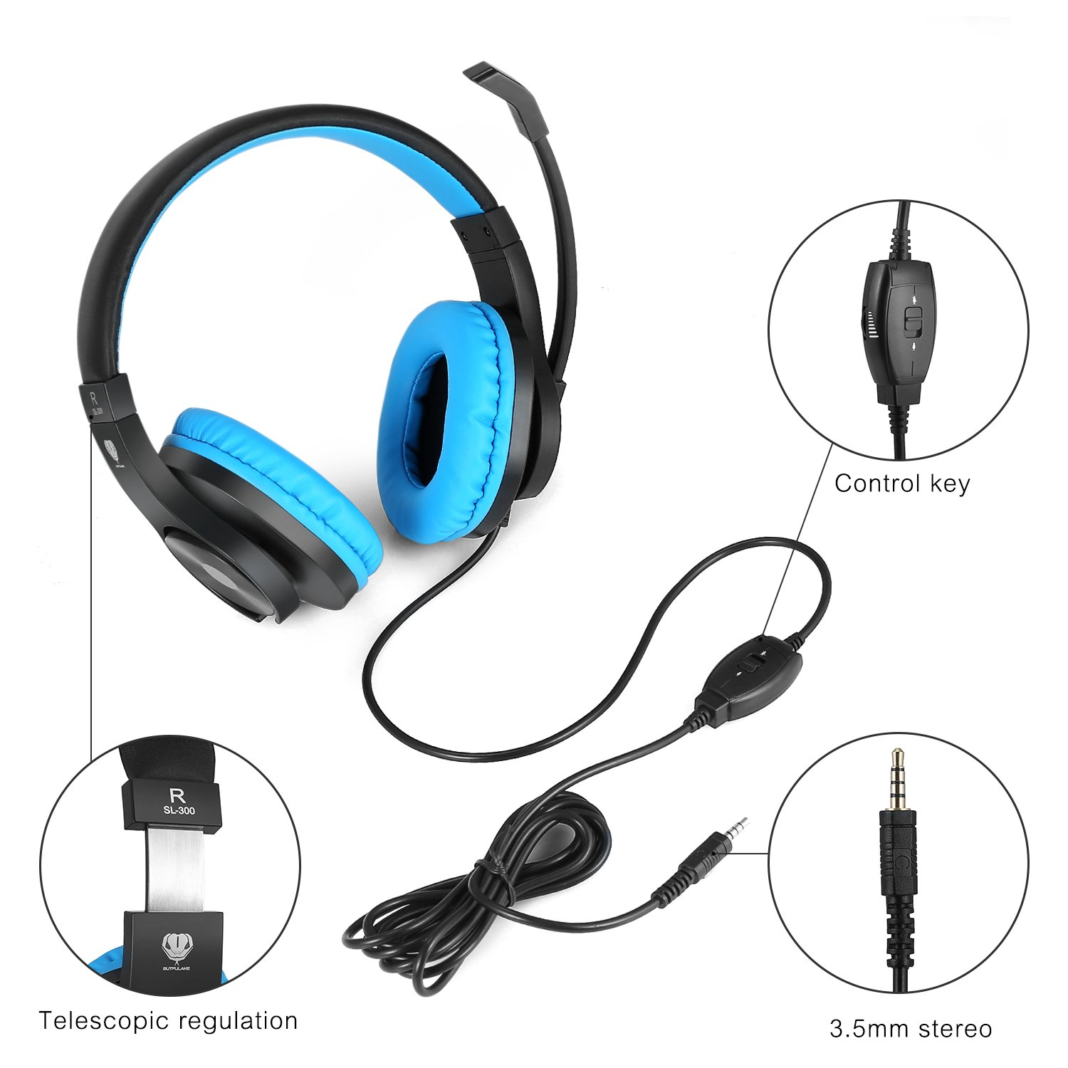 DIWUER Stereo Wired Gaming Headset for PS4 Xbox One 3.5mm Bass Over-Ear Headphones with Mic Noise Isolation for Laptop PC Mac iPad Phones (Black Blue) by DIWUER (Image #7)