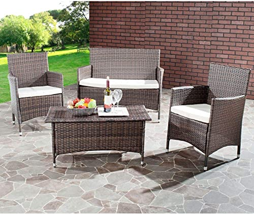 Safavieh Home Collection Briana Brown Outdoor Living Wicker Patio Set