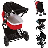Universal fit Pram and Bassinet Baby Sun Shade and Blackout Blind (0-6m) | Blocks 99% of UV (UPF50+) | Air-Permeable and…