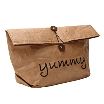 12c45aa237d WIONE Fashionable Roll Top Reusable Brown Tyvek Paper Lunch Bag  Eco-friendly Picnic Container  Amazon.co.uk  Kitchen   Home