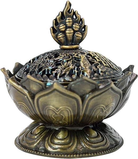 beautiful chinese lotus incense burner carved brass