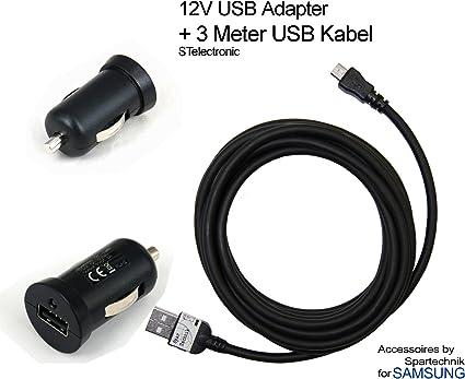 El paquete combinado: 12 V USB coche 2 A para SAMSUNG tablet smartphone Micro USB plus 3 meter cable USB extra largo * Cargador rápido para encendedor de cigarrillos de 2 amperios: Amazon.es: Electrónica