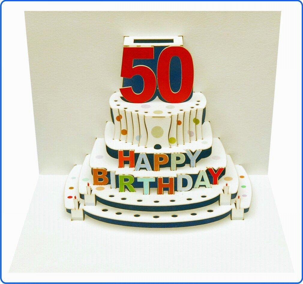 Tarjeta de felicitación de cumpleaños pop-up en 3d 50cumpleaños tarta de cupones 16x 11cm Forever