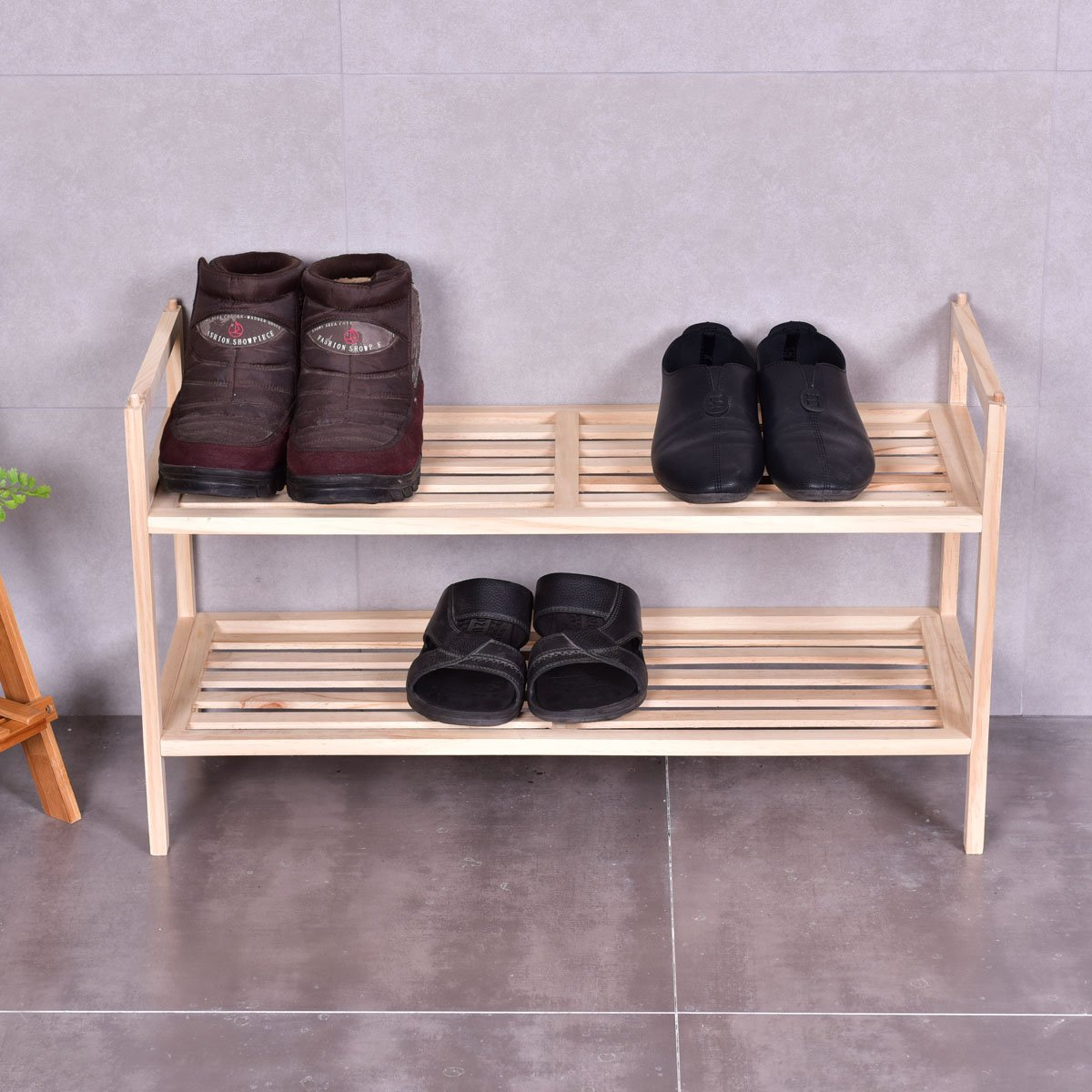 Giantex 2 Tier Solid Wood Shoe Rack Shelf Storage Organizer Wooden Slats Entryway Home by Giantex (Image #3)