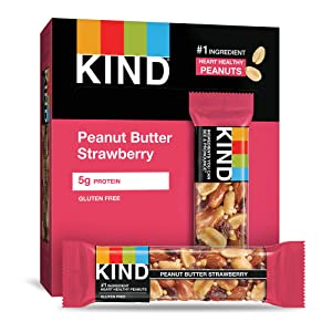 KIND Bars, Peanut Butter & Strawberry, Gluten Free, 1.4 Ounce Bars, 12 Count (Packaging May Vary)
