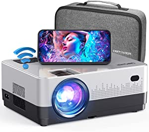 """DBPOWER WiFi Projector, 7500L Full HD 1080p Video Projector with Carry Case, Support iOS/Android Sync Screen, Zoom&Sleep Timer, 4.3"""" LCD Home Movie Projector Compatible w/Smart Phone/Laptop"""