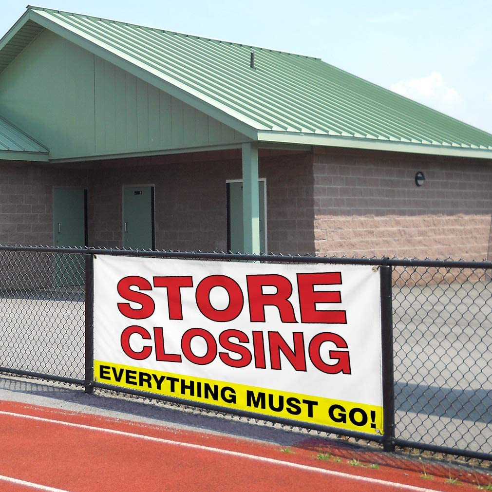 Multiple Sizes Available Vinyl Banner Sign Store Closing Everything Must Go Business Style T Business White One Banner 8 Grommets 48inx96in