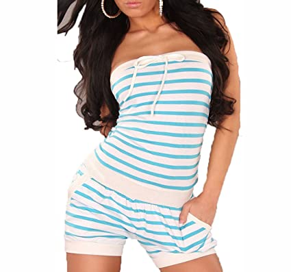 96dec82d9f0 NEW WOMENS LADIES GIRLS SEXY BANDEAU SUMMER STRIPED JUMPSUIT PLAYSUITE SIZE  8-14 (S