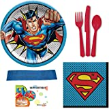 Lunch Napkins Superman Birthday Party Supplies Bundle Utensils and Bonus Printed Ribbon Featuring Lunch Plates