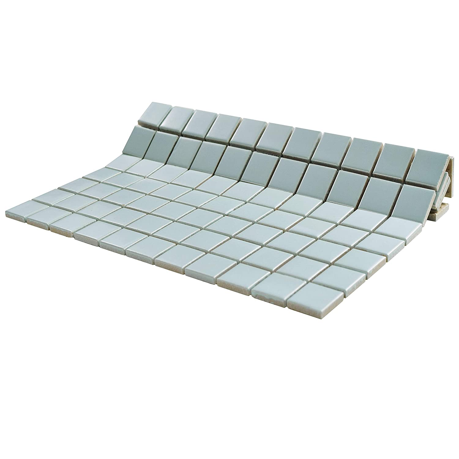 12.25 x 12.25 SomerTile FXLM2SGW Retro Square Porcelain Floor and Wall Tile Glossy White