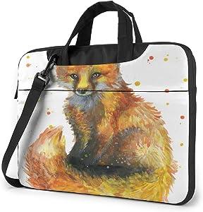 """Cute Little Fox Watercolor Pattern Laptop Bag Protective Case Computer Messenger Briefcase Women Men 15.6"""""""