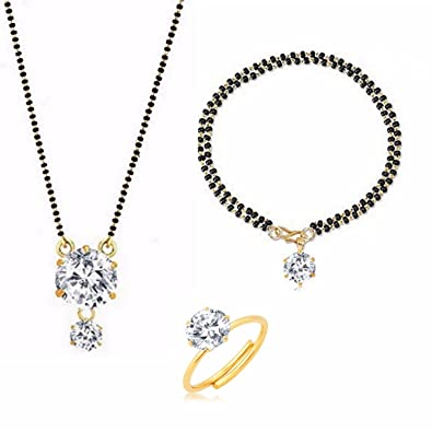 Buy archi collection jewellery combo of round american diamond archi collection jewellery combo of round american diamond mangalsutra pendant with chain mangalsutra bracelet and aloadofball Images