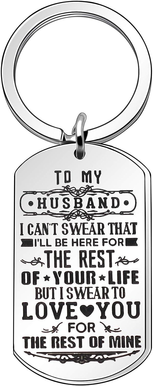 Llavero Angelra para Marido, Llavero para Hombre Amante de la Pareja, Regalo del día de San Valentín con Etiqueta Plateada y Colgante de Acero Inoxidable