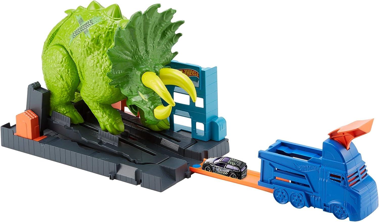 Hot Wheels City Global Nemesis TV, Dinosaurio Triceratops y lanzador de coches de juguete (Mattel GBF97)