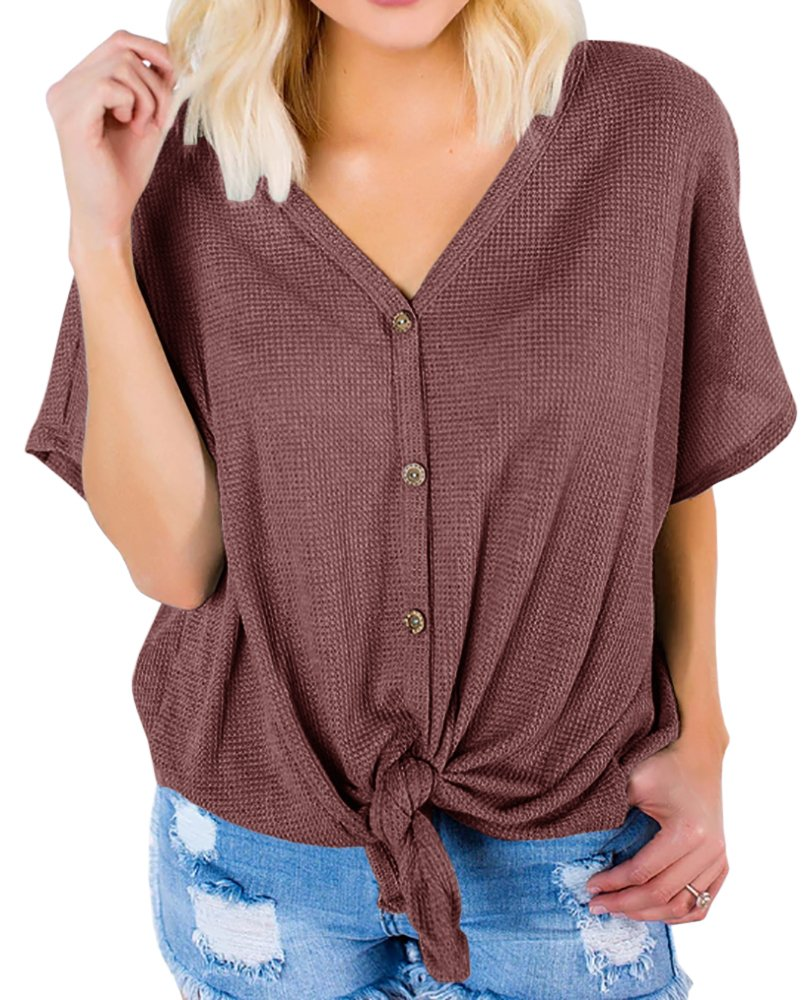 Dellytop Womens Loose Fitting Ribbed Henley Shirt Tie Knot V Neck Summer Casual Cute Tops, Red Brown, Large