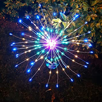 Indarun 3 Pack Solar Garden Decorative Stake Lights With Remotes Outdoor Multicolor Led Flowers Trees Fireworks Light Copper Wires Diy Landscape Lighting For Walkway Patio Lawn Yard Christmas Decor Amazon Com