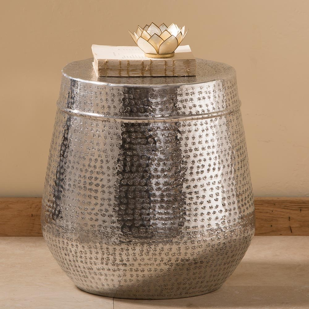 Low Dimpled Silver Drum Side Table