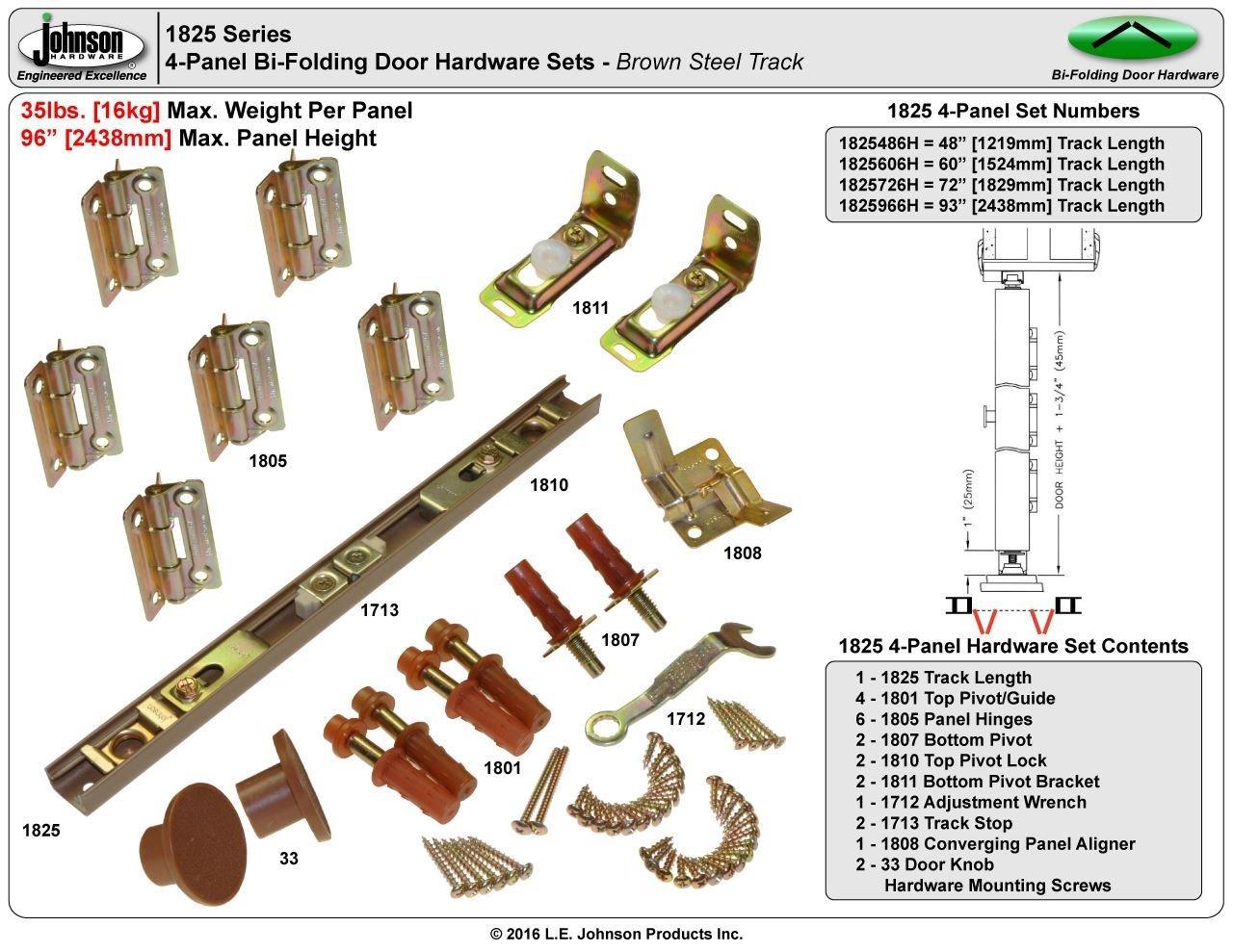 Johnson Hardware 1825 Tap-In Bifold Hardware - 72'' 4 Door
