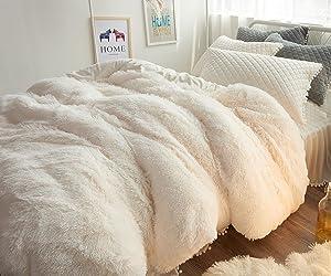 Ceruleanhome 1pc 100% Velvet Flannel Duvet Cover, Solid Color, No Inside Filler, Zipper Close (Queen 1pc Duvet Cover, White)