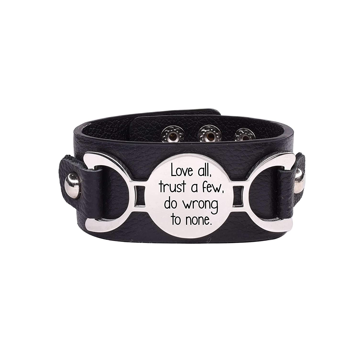 Pink Box Genuine Leather Inspirational Cuff Bracelet Silver Love All