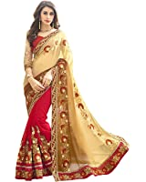 Panchratna Women Clothing Saree For Wear Sarees Collection in Georgette Material Latest half and half Saree With Blouse