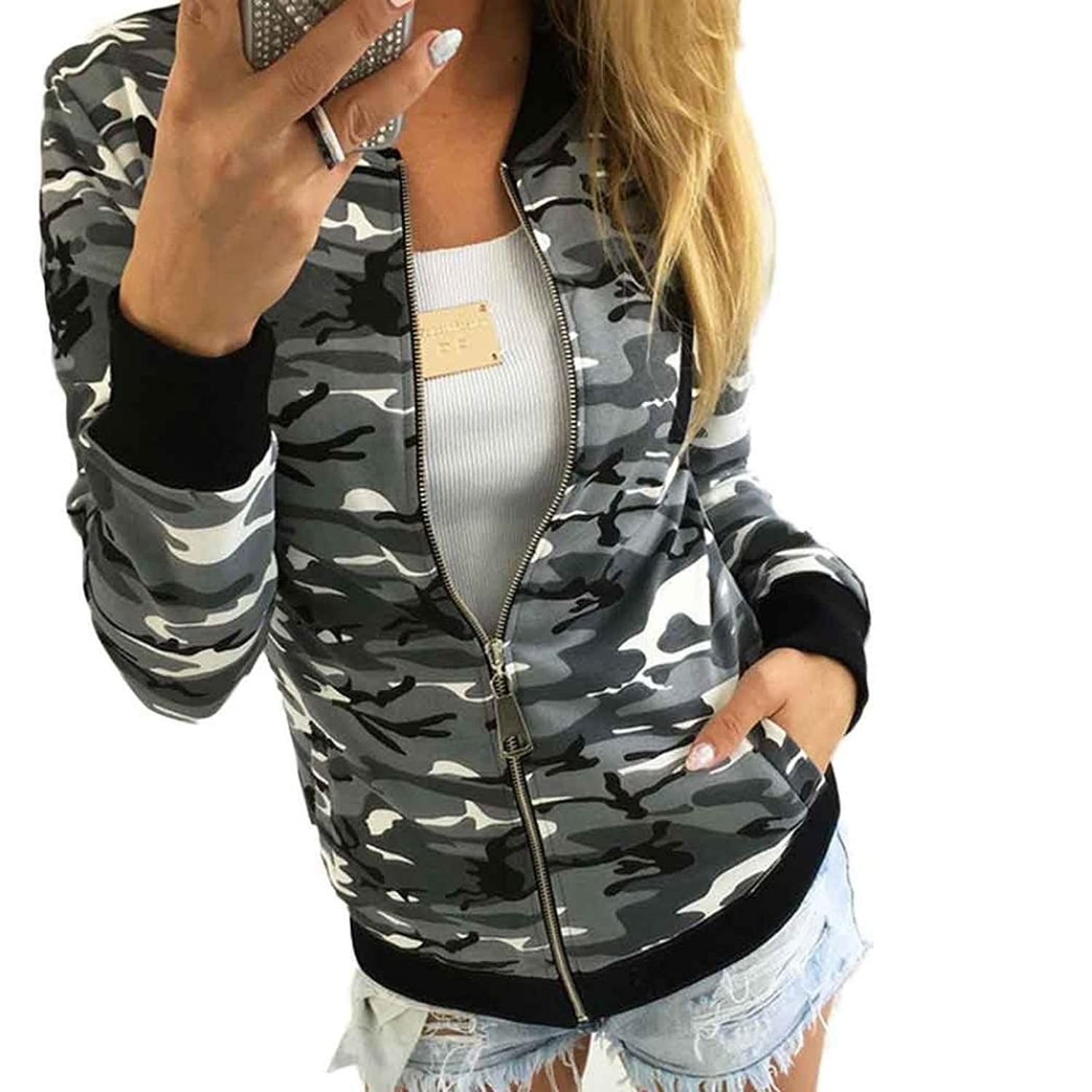 Womail Women Classic Camouflage Short Coats Bomber Jacket Coats