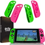 Orzly FlexiCase 4-Pack for Switch Joy-Cons - Pack of 2x PINK & 2x GREEN Protective Case Covers [Lightweight, Durable Flexible Rubberised Skins] for Left & Right Nintendo Switch Joy-Con Controllers