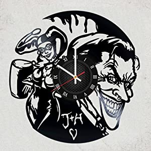 Joker and Harley Quinn Vinyl Record Wall Clock - Awesome Gift for Your Friend or Batman Fan DC Comics Merchandise Gifts for Kids Bedroom Decor