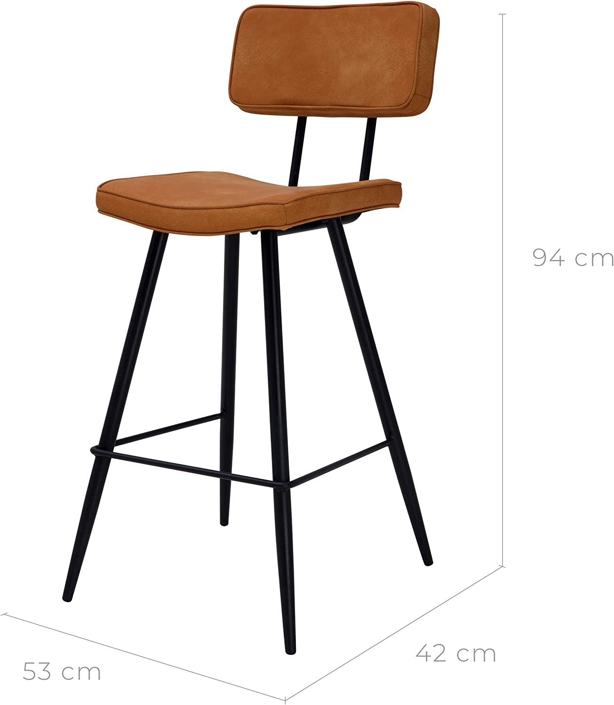 Rendez vous d/éco Chaise de Bar mi-Hauteur Texas Camel 65 cm Lot de 2