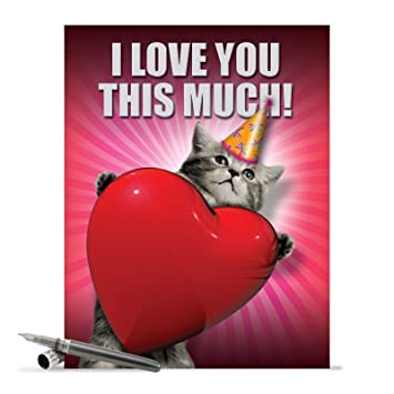 Amazon J1644BDB Jumbo Funny Blank Birthday Card Love You This Much Cat With Envelope Extra Large Version 85 X 11 Office Products